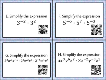Exponent Task Cards with QR Codes