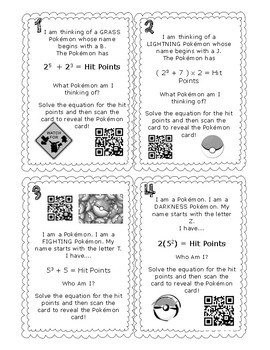 Order of Operations with Exponents Task Cards with QR Codes / Augmented Reality