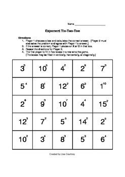 exponent tic tac toe game activity math by mrs c 39 s classroom. Black Bedroom Furniture Sets. Home Design Ideas