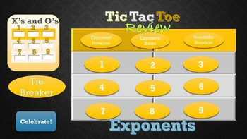 Exponent Tic Tac Toe Review for 8th Grade