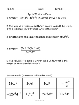 Exponent Unit - Properties, Practice, Special Situations, Equations