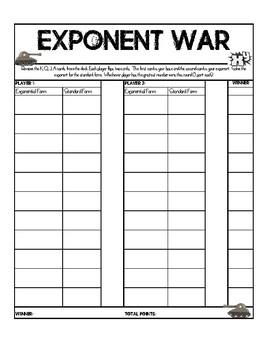 Exponent War Game
