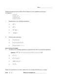 Exponent Worksheet