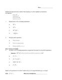 Exponent Worksheet