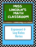 Exponent and Log Rules Notes