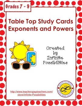 Exponent and Powers Study Cards