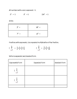 Exponent notes with decimals and fractions