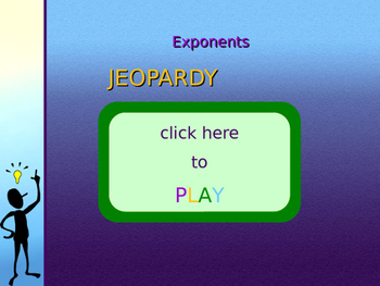 Exponent rules jeopardy PowerPoint game