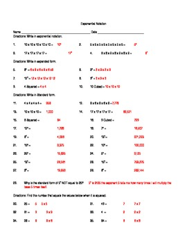 Exponental Notation Worksheet