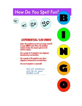Exponential Bingo Worksheet