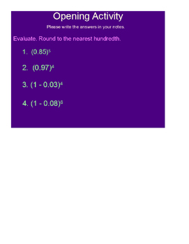 Exponential Decay Function SmartBoard Lesson