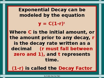 Power-point:  Exponential Decay Functions in Algebra with GUIDED NOTES