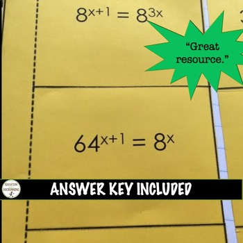 Solve Exponential Equations Color-Coded Notes and Practice