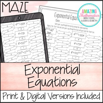 Exponential Equations Teaching Resources Teachers Pay Teachers