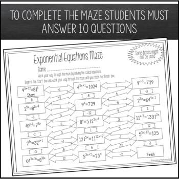 Exponential Equations Maze