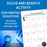 Exponential Equations Solve and Search Activity Algebra 1
