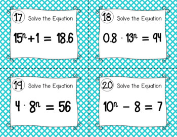 Exponential Equations Task Cards