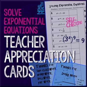 Exponential Equations Teacher Appreciation Cards