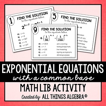 Exponential Equations (with a common base) Math Lib