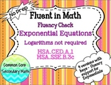 Exponential Equations without Logarithms Fluency Check : No Prep Fluent in Math