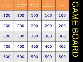 Exponential Expressions and Properties of Exponents Review Game Activity