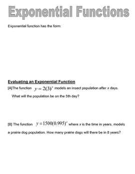 Exponential Function Graphic Organizer