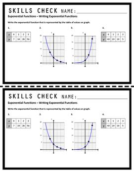 Exponential Functions ALGEBRA Skills Check Bundle