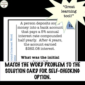 Compound Interest Word Problems Practice and Review Task Cards
