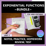 Exponential Functions Curriculum Bundle Editable U7