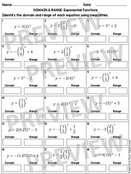 Exponential Functions Domain and Range from Graphs and Equations Practice