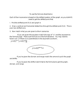 Exponential Functions Formula sheet