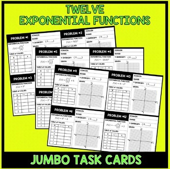 Exponential Functions Graphing Review Jumbo Cards