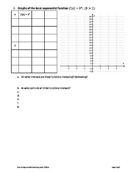 Exponential Functions Intro Lesson with Solutions
