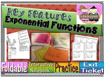 Exponential Functions Key Features Foldable, INB, Practice, & Exit
