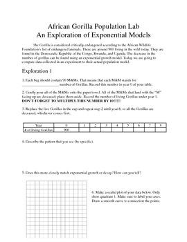 Exponential Functions Lab: Endangered Species Gorillas