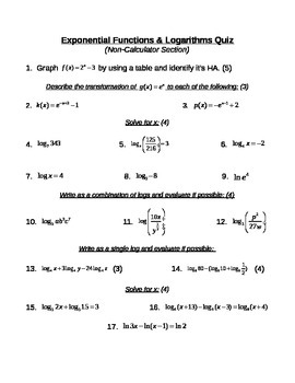 Exponential Functions & Logarithms Quiz