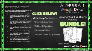 Exponential Functions Matching BUNDLE- Tables, Graphs, & Equations GOOGLE Slides