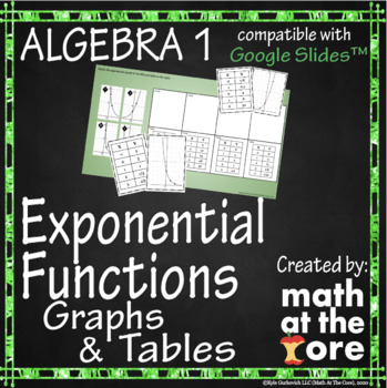 Exponential Functions - Matching - Tables & Graphs - GOOGLE Slides