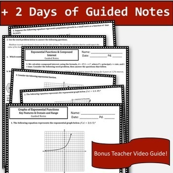 Exponential Functions Notes & Activity Bundle!