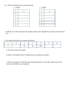 Exponential Functions: Practice Packet