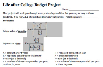 Exponential Functions Project - Life After College Budget