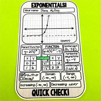 Exponential Functions Quick Check Template