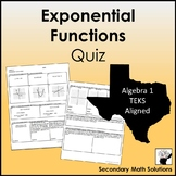 Exponential Functions Quiz (A9A, A9B, A9C, A9D)