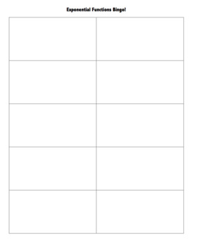 Exponential Functions Reference Sheet (can be used as task cards or for bingo)