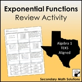 Exponential Functions Review Activity  (A9B, A9C, A9D)