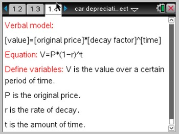 Exponential Functions: TI-Nspire Car Depreciation Project