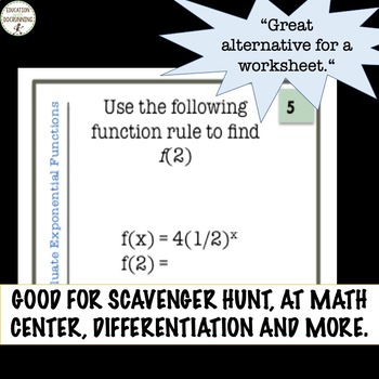Exponential Functions Task Card Activity