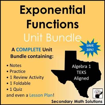 Exponential Functions Unit Bundle (A9A, A9B, A9C, A9D)
