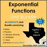 Exponential Functions Unit Bundle (A9A, A9B, A9C, A9D)