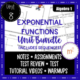 Distance Learning Exponential Functions Unit Bundle (includes sequences)